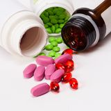Colorful tablets with capsules Stock Photo