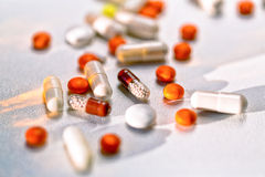 Colorful tablets with capsules and pills Royalty Free Stock Photography