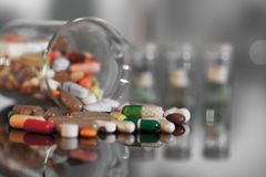 Colorful tablets with capsules and pills Stock Photo