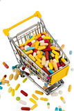 Colorful tablets in cart Royalty Free Stock Images