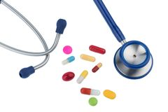 Colorful tablets a stethoscope Stock Photography