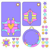 Colorful tag collection with hearts, flower and stars Stock Image