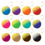 Colorful tag or label collection with golden ribbon Stock Photo