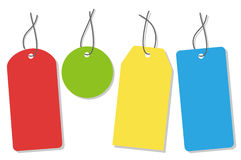 Colorful tags. Four colorful tags with black string (vector Royalty Free Stock Image