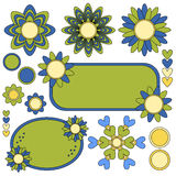 Colorful tags, flowers and hearts collection. Over white background Royalty Free Illustration