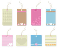 Colorful tags with hearts. Royalty Free Stock Photography