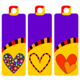 Colorful tags or labels with hearts Royalty Free Stock Photography