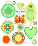 Colorful tags, labels, hearts, flowers, butterfly. Colorful tags, labels, hearts, flowers and butterfly over white Royalty Free Stock Photos