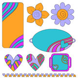 Colorful tags or labels, hearts and flowers Stock Images