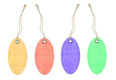 Colorful tags with metal rivets isolated on white Royalty Free Stock Photo