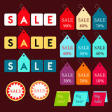 Colorful tags sale graphic design for promotion business on dark brown background | discount template collection Royalty Free Stock Photo