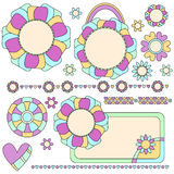 Colorful tags, trims and decorations with flowers and hearts Stock Image