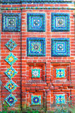 Colorful ceramic tiles. Old church facade in Yaroslavl, Russia. Royalty Free Stock Images