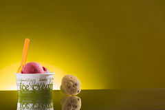 Colorful take-away ice cream in plastic cup Royalty Free Stock Images