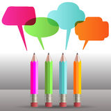 Colorful talking pencils concept Stock Images