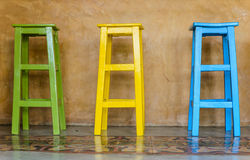 Colorful tall wooden chair Royalty Free Stock Photos