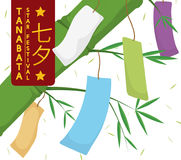 Colorful Tanzaku Papers and Bamboo Branch for Tanabata Festival, Vector Illustration. Poster with traditional colorful paper strips -or Tanzaku- hanged in a Royalty Free Stock Images