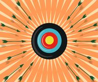 Colorful Target Hit By Arrows Royalty Free Stock Photos