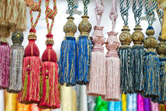 Colorful tassels for curtains. Detail shot Royalty Free Stock Photo