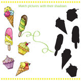 Colorful tasty cartoon ice cream - match the pictures- game for children Stock Photos