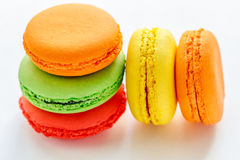 Colorful and tasty French Macarons on white background Stock Photo