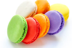 Colorful and tasty french macaroons on white background Stock Photography