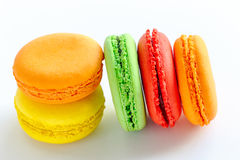 Colorful and tasty french macaroons on white background Royalty Free Stock Photo