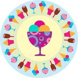 Colorful tasty ice-creams icons. Colorful background of different ice-creams,  illustration Stock Photography
