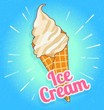 Colorful tasty isolated ice cream at a turquoise background. Crunchy wafer cone filled with white and beige cream. Vector Illustration Royalty Free Stock Photography