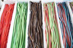 Colorful tasty licorice candies for sale on retail market Stock Image