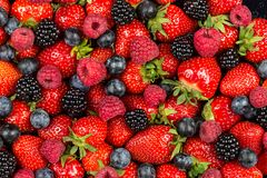Free Colorful Tasty Mix Of Wild Forest Berry Fruits. Strawberry Blueberry Raspberry And Blackberry. Healthy Eating Nutrition Vegan Food Royalty Free Stock Photo - 157142785