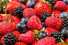 Free Colorful Tasty Mix Of Wild Forest Berry Fruits. Strawberry Blueberry Raspberry And Blackberry. Healthy Eating Nutrition Vegan Food Stock Image - 157142881