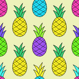 Colorful Tasty Pineapple Pattern in pop-art style Royalty Free Stock Photos