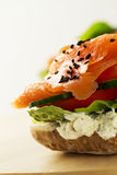 Colorful tasty salted salmon with vegetables on sandwich. Bright Stock Photos