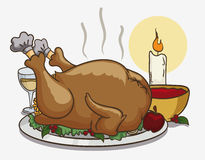 Colorful Tasty Thanksgiving Dinner, Vector Illustration Stock Image