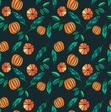 Colorful tasty yummy ripe juicy lovely orange summer autumn dessert slices of oranges and mandarins pattern on black background ve. Ctor illustration. Perfect Stock Images