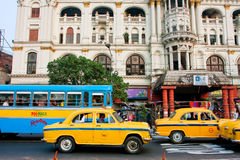 Colorful taxi cabs drive faster of real speed limit Royalty Free Stock Photography