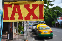 Colorful taxi parking on the car park area on the street of Patt Stock Photo