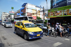 Colorful taxi parking on the street of Pattaya Royalty Free Stock Photos