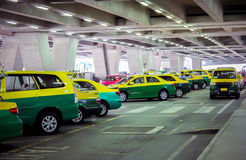 Colorful taxis on the street at airpot in Bangkok Royalty Free Stock Photo