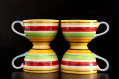 Colorful tea cups Royalty Free Stock Photos