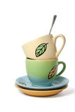 Colorful  tea cups Stock Photography