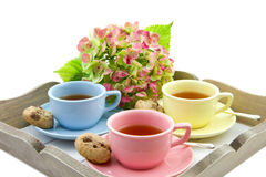 Colorful tea cups. On a serving tray with hydrangea Royalty Free Stock Photo
