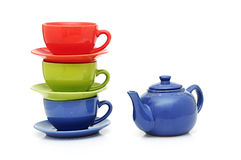 Colorful tea cups with teapot Royalty Free Stock Photography
