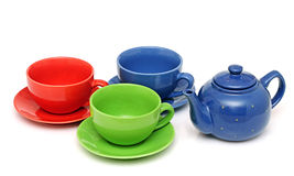 Colorful tea cups Stock Images