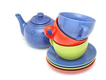 Colorful tea cups with teapot Royalty Free Stock Images