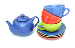 Colorful tea cups with teapot Royalty Free Stock Photos