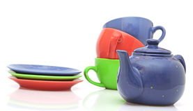 Colorful tea cups with teapot Royalty Free Stock Image
