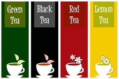 Colorful tea labels Royalty Free Stock Image