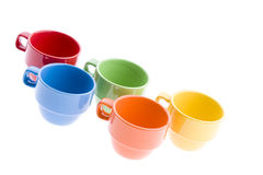Colorful Tea Mugs Royalty Free Stock Photography